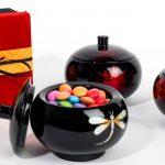 wooden lacquer trinket pots