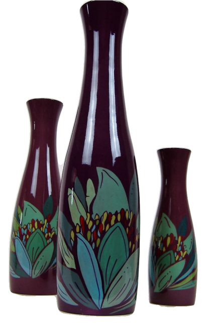 Purple lily wooden lacquer vases