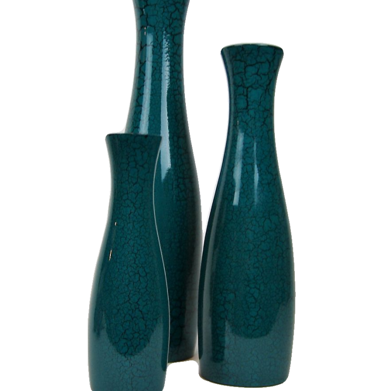 Turquoise crackle wooden lacquer vases