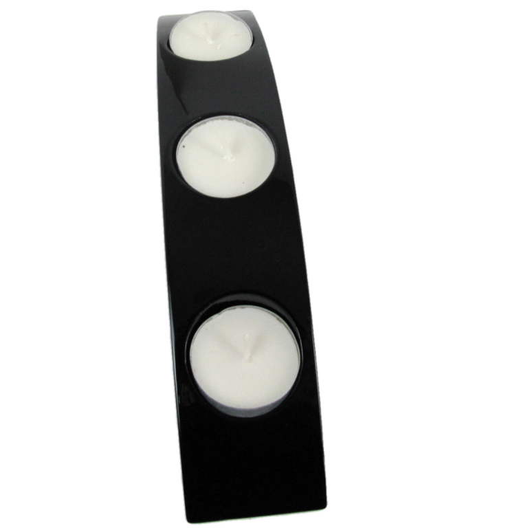 Black wooden lacquer tealight holder
