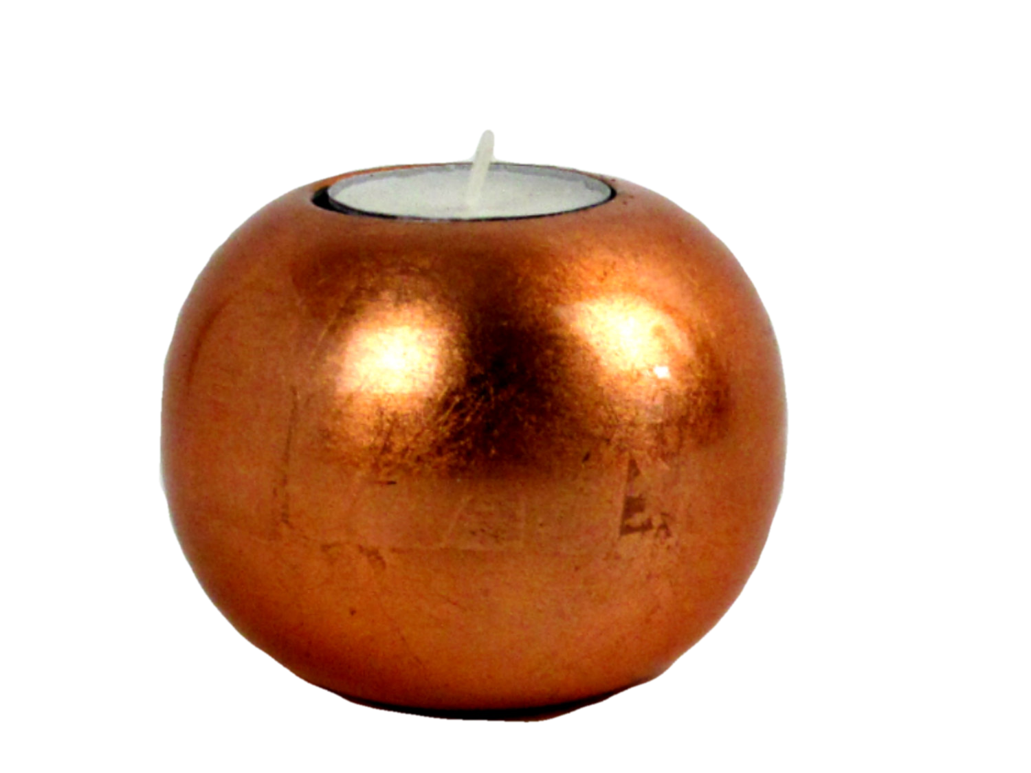 metallic copper single wooden lacquer tealight holder