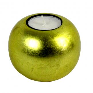 Metallic gold single wooden lacquer tealight holder