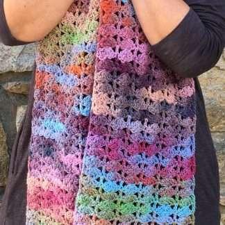 Glacier hand crochet scarf Jewelspun aran