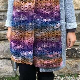Northern Lights hand crochet scarf Jewelspun aran