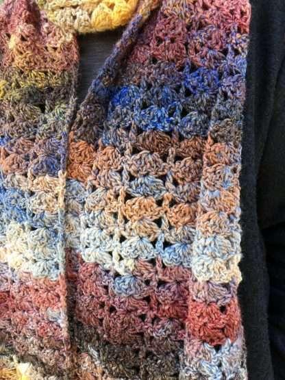 Sandstone Sunset hand crochet scarf Jewelspun aran
