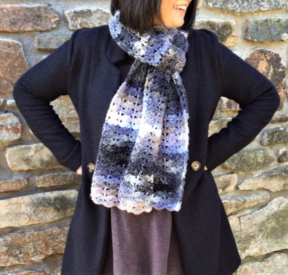 Crystal Quartz hand crochet scarf Jewelspun aran