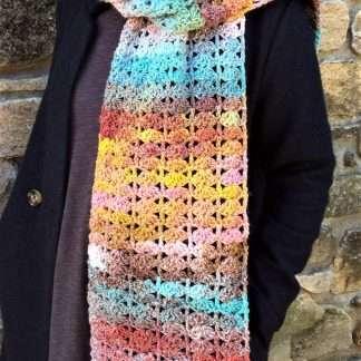 Daybreak Delta hand crochet scarf Jewelspun aran