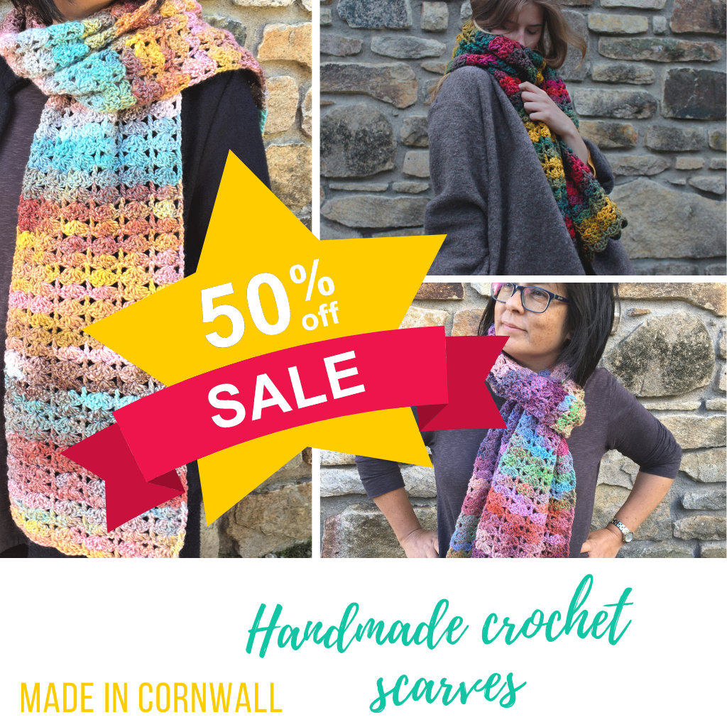 Hand-crocheted scarves in Jewelspun Aran yarn - now on sale